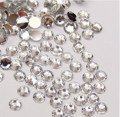 Back Station - Beading Station 1440-Piece Flat Back Brilliant 14-Cut Round Rhinestones, 3mm-10ss, Clear