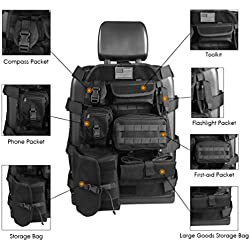 Universal Seat Cover Case with Organizer Storage Muti Pocket fit Jeep Wrangler Unlimited CJ YJ Cherokee Rubicon Ford F150 Ridgeline Seat Protector Multiple Pockets