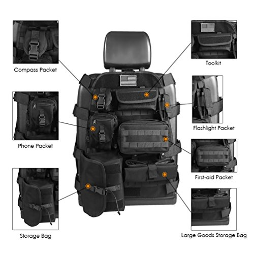 SUNPIE Universal Seat Cover Case with Organizer Storage Muti Pocket fit Jeep Wrangler Unlimited CJ YJ Cherokee Rubicon Ford F150 Ridgeline Seat Protector Multiple Pockets