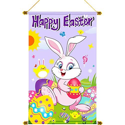 Door Easter Happy - Happy Easter Door Banner Happy Easter Hanging Decoration Door Sign Hanging for Easter Spring Indoor/Outdoor Decoration Garden Flag Party 18.5 x 12.59 Inch (Color 3)
