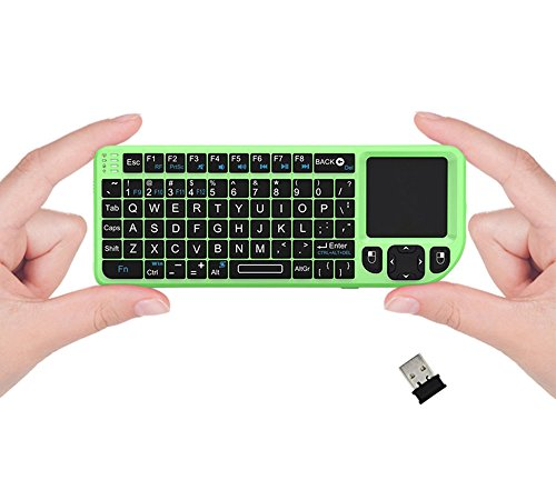 FAVI FE01 2.4GHz Wireless USB Mini Keyboard with Mouse Touchpad, Laser Pointer - USA Version (Warranty) - Green (FE01-GR)