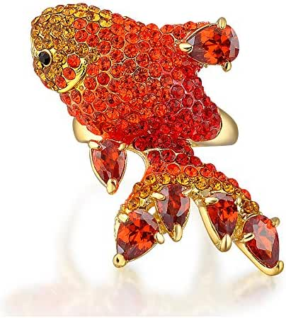 Mytys Gorgeous Fish-shape Animal with Ruby Red Crystal Cocktail Rings