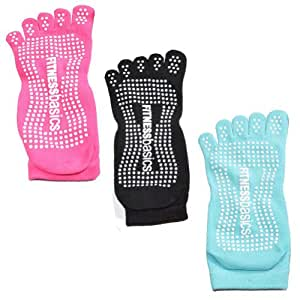 3 Pair Cotton Slip-free Yoga Toe Socks for Women