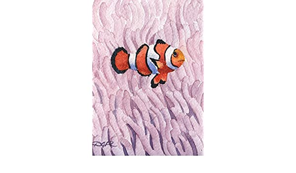 Clown Fish Abstract Watercolor Painting Art Print by Artist DJ Rogers
