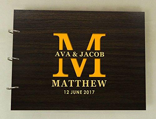 Engraved Book Guest (Custom Rustic Wedding Scrapbook Wood Engraved Name Bride & Groom Advice Guestbook)