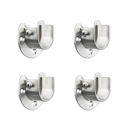 FYTRONDY Stainless Steel Wardrobe Closet Rod Bracket U Shaped Open Type Socket