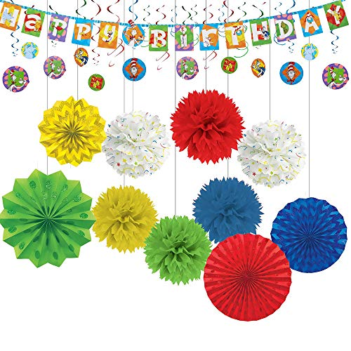 Party City Dr. Seuss Birthday Decorating Kit, 18 Pieces, Includes Banner and Hanging Decorations -