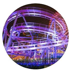 alfombrilla de ratón Yokohama vista de atracciones parque de la noche - ronda - 20cm