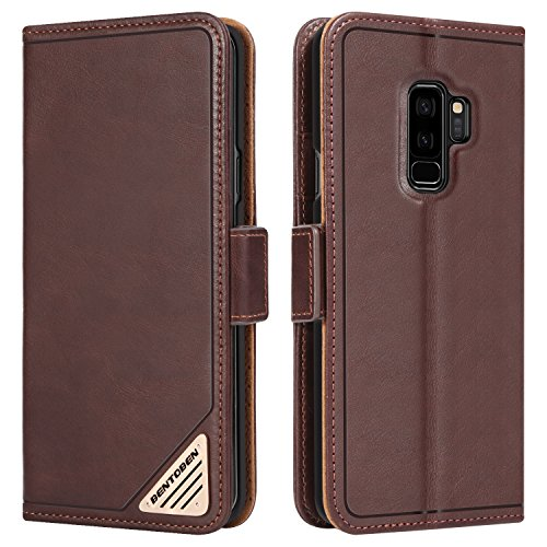 Galaxy S9 Plus Wallet Case,BENTOBEN Heavy Duty Rugged Shockproof Genuine Leather Folio Flip Kickstand Card Holder Cash Slots Magnetic Closure Protective Phone Case for Samsung Galaxy S9 Plus,Brown