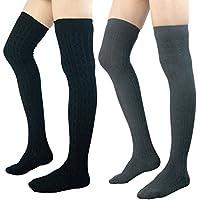 2-Pk YSense Womens Girls Over Knee Leg Knit Crochet Socks Leggings (Black/Grey)