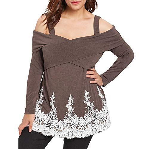 vermers Fashion Women Casual Plus Size Tops Cold Shoulder Applique T-Shirt Camis Tops Blouse(5XL, z2-Khaki)