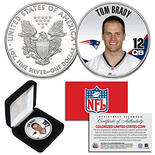 TOM BRADY QB #12 Patriots NFL 1oz PURE.999 SILVER AMERICAN EAGLE with Deluxe Box