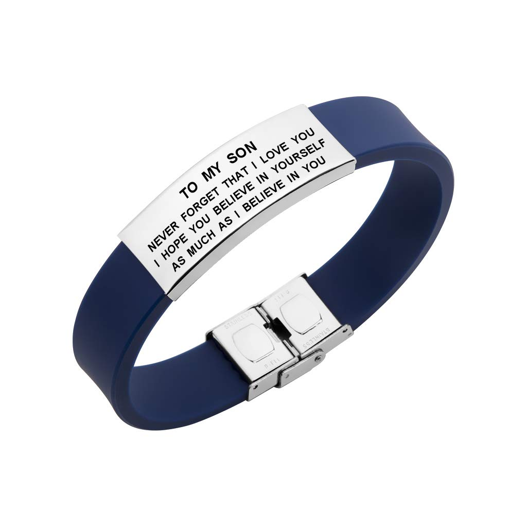 to My Son Bracelet Never Forget That I Love You Courage Quotes Jewelry (Blue)