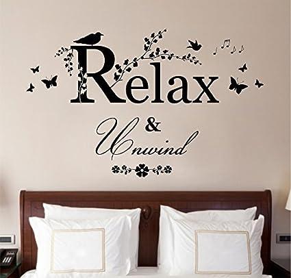 Amazon.com: Relax & Unwind Decal Vinyl wall art stickers Vinyl Decor ...