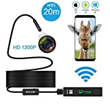 Wireless Endoscope, GULAKI Wifi Borescope Inspection Camera IP 68 Waterproof Snake Camera with 8 Adjustable LED 3.5M Cable 1200P HD Picture for Android & IOS Smartphone, iPhone, Samsung