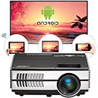 WiFi Android Mini Projector-1500 lumen LCD Image System Portable Home Video Projectors Support HDMI 1080P Airplay Miracast, Wireless Pico Projector for IOS/Android Smartphone Laptop