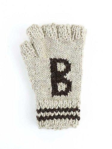 頑張るアプライアンス暫定(ブラックシープ) Black Sheepウールハンドニット刺繍フィンガーレスグローブ手袋SM08A?031