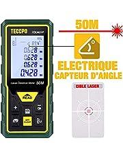 Télémètre laser 50M, Mesure laser TECCPO, Capteur Électronique Angulaire, m/in/ft/ft+in, Fonction Muet, 30 Stockage de Données, mesure de la Distance, de la Surface et du Volume, Angle, IP54, TDLM21P