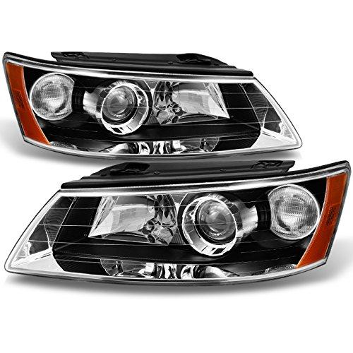 For Sonata Black Bezel Projector Headlights Headlamps Front Lamps Replacement Pair Left + ()
