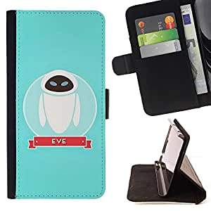 For Apple Iphone 6 PLUS 5.5 Character Space Blue Cute Beautiful Print Wallet Leather Case Cover With Credit Card Slots And Stand Function