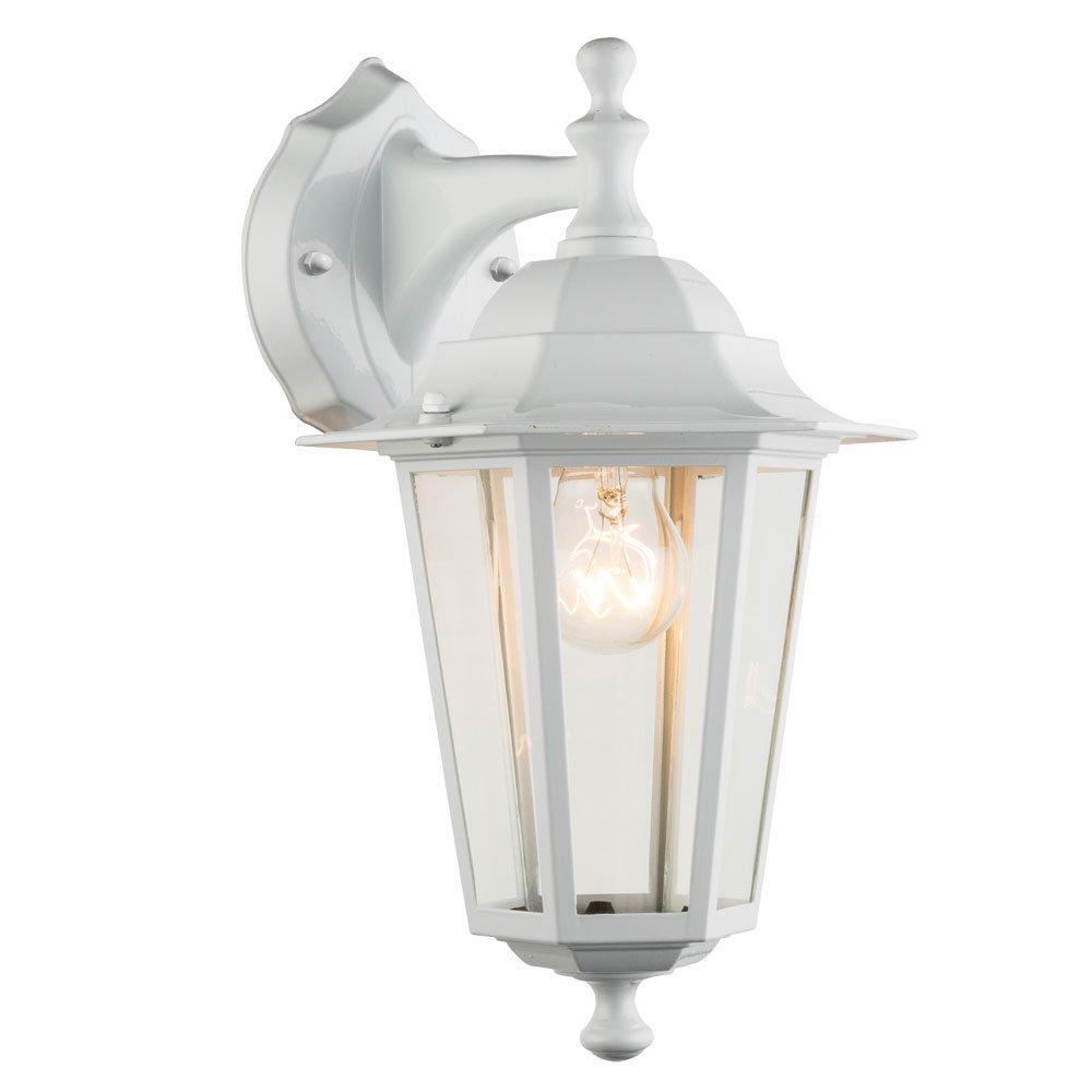 Aussen Wandlampe Wandleuchte Weiss Glas Klar 1x60W Aussenleuchte Laterne Lampe