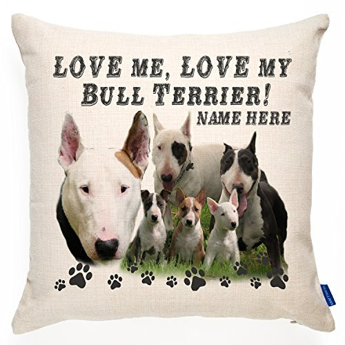(ChristBess Personalized English Bull Terrier Dog Cushion Pillow Cover | Love Quote Puppy | Terrier Pet Gift)