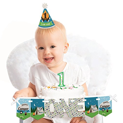 Big Dot of Happiness Happy Camper 1st Birthday - First Birthday Boy Smash Cake Decorating Kit - High Chair Decorations