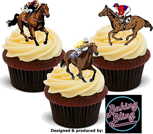 12 x Horse Racing Horses Mix - Fun Novelty Birthday PREMIUM STAND UP Edible Wafer Card Cake Toppers (Horse Racing Cakes)