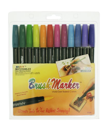 (Uchida 1500-12E 12-Piece Bright Brush Marker Set)