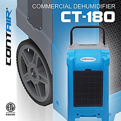 Contair CT-180 XL Commercial Grade Dehumidifier Humidity Control Automatic Pump Moisture Remover Extractor Hydroponics Blue