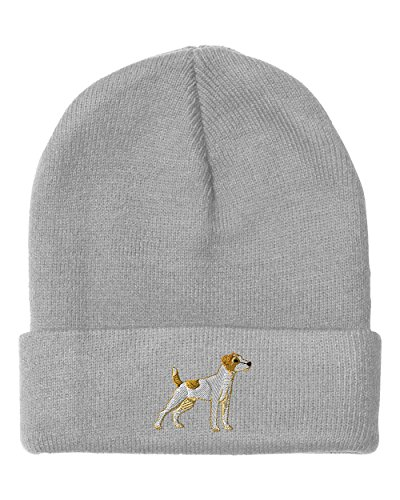 Jack Russell Terrier Embroidery (Jack Russell Terrier Embroidery Embroidered Beanie Skully Hat Cap Light Gray)