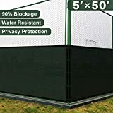 Coarbor 5' x 50' Privacy Fence Screen with Brass Grommets Heavy Duty 140GSM Pefect for Outdoor Back Yard Patio and Deck Green