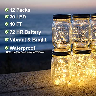TDELTA 12 Pack 10 FT 30 LED Powered Fairy String Lights - LED String Lights - Firefly Lights - Silver Wire - Battery Operated- for Christmas, Bedroom, Patio, Garden, Parties, Wedding - Warm White : Garden & Outdoor
