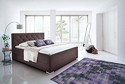 Cama con somier tapizada (140 x 200 L Funda de Tela marrón ...