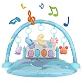 TEMI Baby Play Mat & Activity Gym, Kick and Play Piano Play Center with 5 Activity Sensory Toys, Mirror, Music and Lights for Infant Toddler Newborn Boys and Girls 1 to 36 Months
