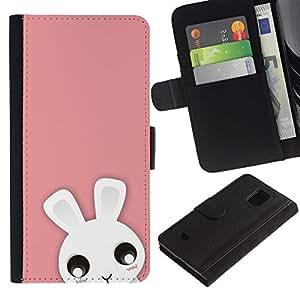 ZONECELL (No Para S5) Imagen Frontal Negro Cuero Tarjeta Ranura Trasera Funda Carcasa Diseño Tapa Cover Skin Protectora Case Para Samsung Galaxy S5 Mini, SM-G800 - animal lindo color rosa