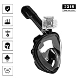 Snorkel Mask Full Face Diving Mask, EKOOS Seaview 180° Panoramic Full Face Design 2018 Newest Version with Detachable GoPro Mount Dry Top Set Anti-Fog Anti-Leak for Adults & Kids