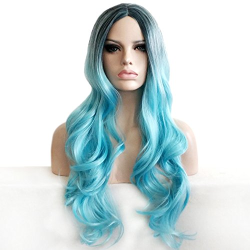 BERON 27'' Long Wavy Dark Roots Pastel Ice Blue Wig Fashion Hairstyle Wigs for Daily Use or Cosplay Wig Cap Included (Black Ombre Ice Blue) by BERON
