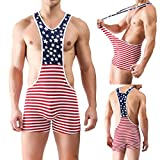 Iffee Men's American Flag Wrestling Singlet Gym Underwear Bodysuit Lingerie Outfit Pants