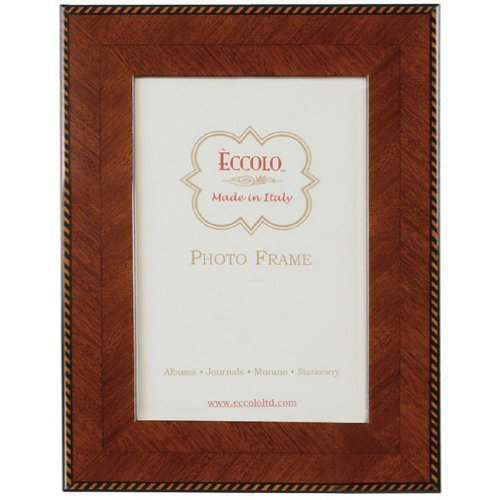 Eccolo Made in Italy Marquetry Wood Frame, Herringbone With Border, Holds an 8 x 10-Inch Photo by Eccolo