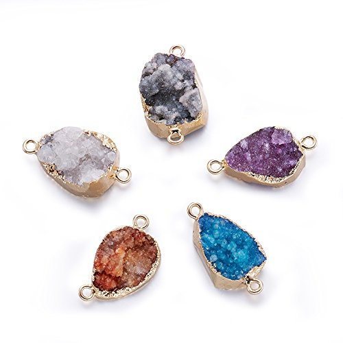 (Fashewelry 5 pcs Mixed Gold Plated Natural Flat Round Druzy Agate Links Jewelry Connector for Jewelry Making Beads (Oval Style) )