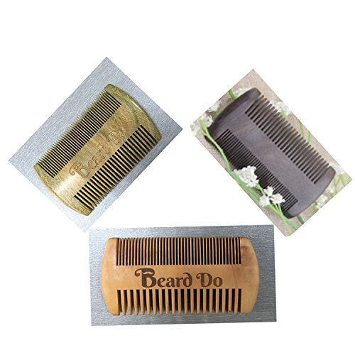 Dual Action Wooden Beard Comb & Case - Natural Black Sandalwood Anti-Static and Hypoallergenic Wood Pocket Comb - For Long and Short Beards & Mustaches with Fragrance Scent