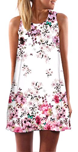 Sun Coolred A Dress Pattern12 Stylish A Sleeveless line Crewneck Floral Women Relaxed Print Line rrAW0qP
