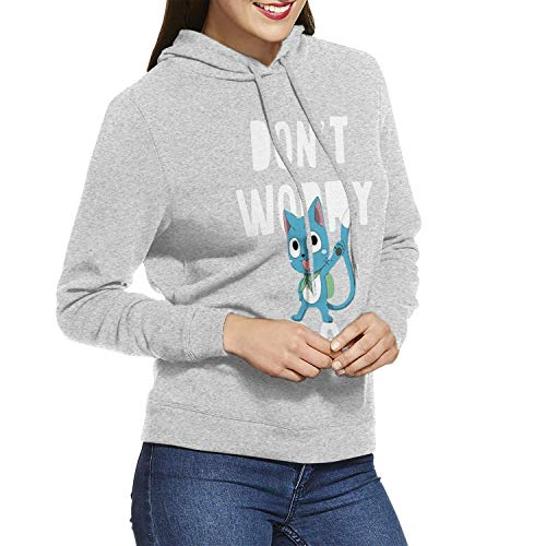 - LSalas Fairy Tail Don't Worry, Be Happy Women's Long Sleeve Casual Hooded Sweatshirt with Drawstring Gray