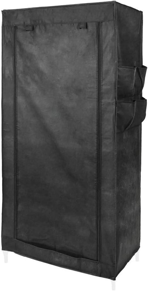 PrimeMatik - Armario ropero guardarropa de Tela Desmontable 70 x 45 x 155 cm Negro con Puerta Enrollable