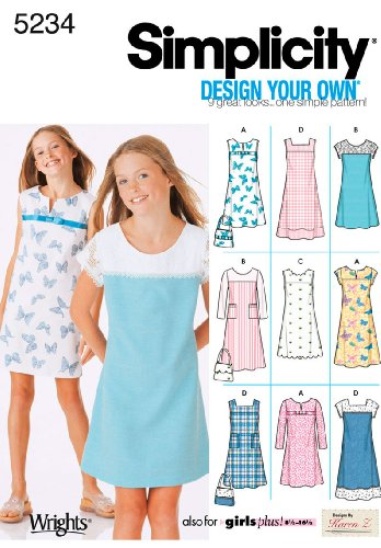Simplicity Sewing Pattern 5234 Girls/Girls Plus Dresses, AA (8-10-12-14-16)
