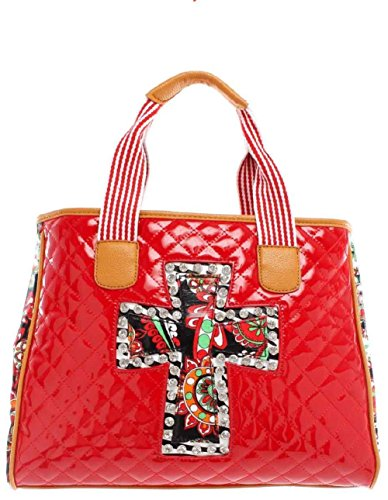 Women's Red Patent Quilted Handbag ()