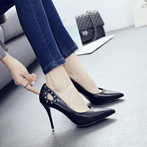 High Women With 9 KHSKX The Black Shoes Shoes Rivets Work Of Fine The Heel Shoes 36 Single Light Is The Tip Exposed 5Cm Autumn HHTfrqZ