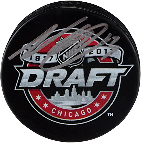 (Nico Hischier New Jersey Devils Autographed 2017 NHL Draft Logo Hockey Puck - Fanatics Authentic Certified)