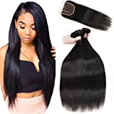 8A Malaysian Straight Hair 3 Bundles With Closure Virgin Unprocessed Human Hair Wefts Hair Extensions Deal With Mixed Lengths 20 22 24 Inches With 16 Inches Three Part Closure